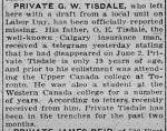 Newspaper Clipping– Calgary Herald June 24, 1916