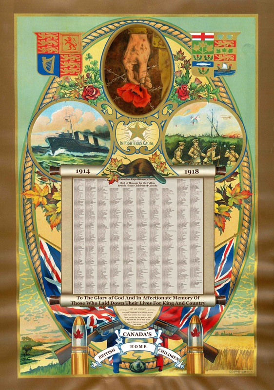 Tableau d'honneur – British Home Children World War 1 Honour Roll