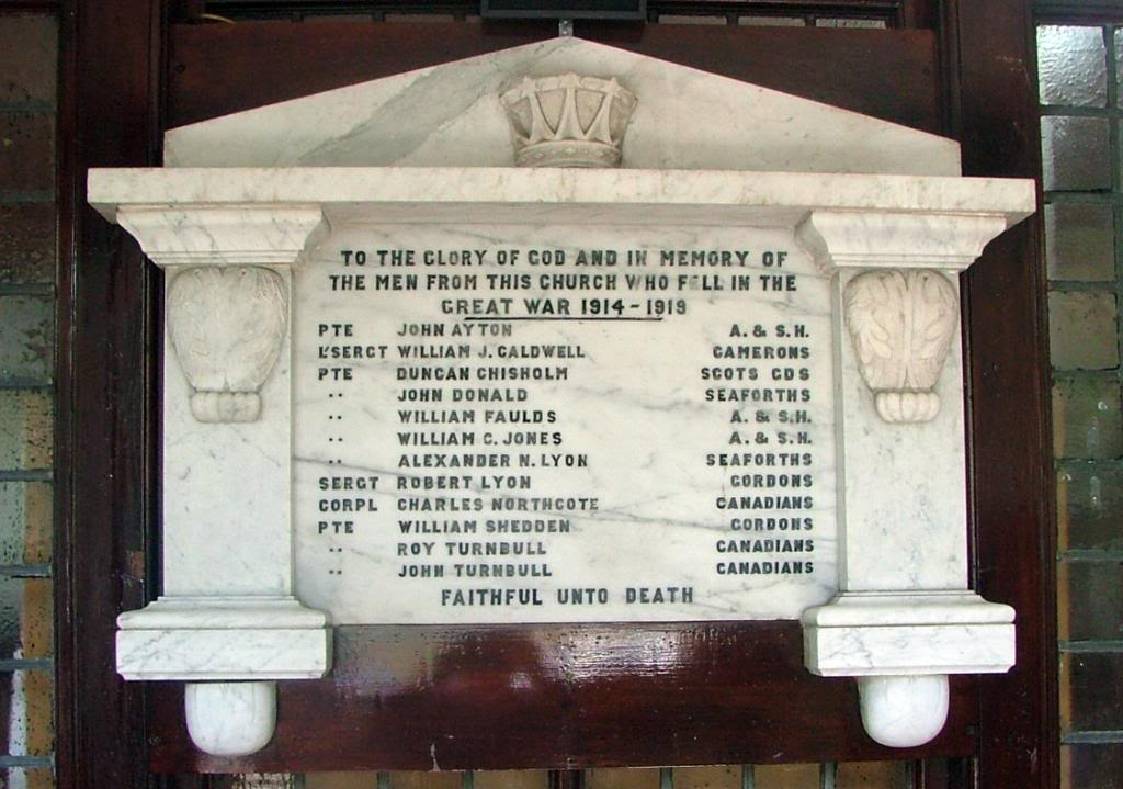 Memorial– The war memorial that used to sit in this small red sandstone church, built in 1904 in the small town of Barrhead Scotland . I have this memorial in my possession as the Church was closed, so the memorial was rescued for safe keeping Both Turnbull lads are commemorated on this.