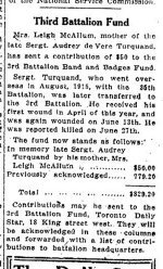 Newspaper Clipping– From the Toronto Star for 23 October 1916, page 1.