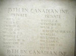 Menin Gate– Menin Gate panel where Private William Warren is commemorated.  Photo by BGen Young (ret) and submitted by Capt (ret) V Goldman of the 15th Bn Memorial Project.  DILEAS GU BRATH