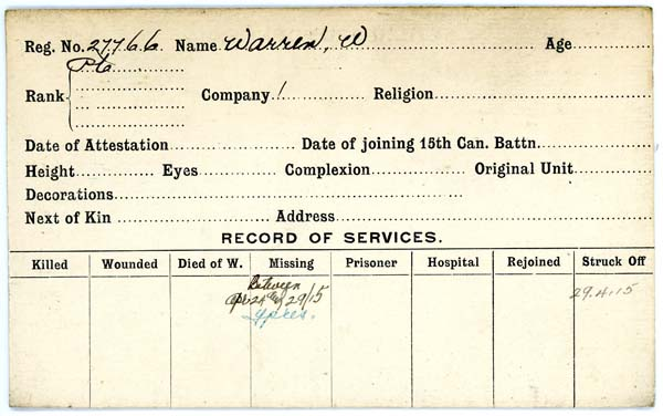 Record of Service– Record of Service Card (front side).  Courtesy 48th Highlanders of Canada Regimental Museum.  Submitted by 15th bn Memorial Project Team.  DILEAS GU BRATH