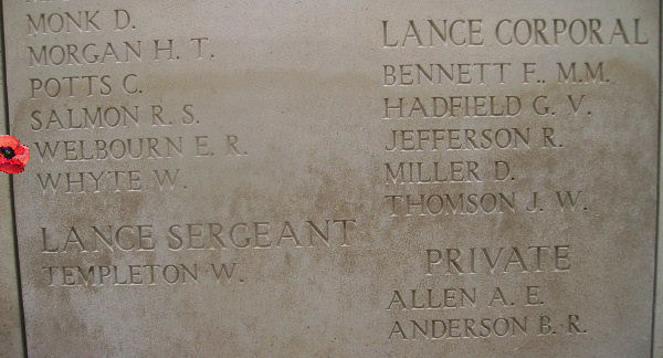 Memorial– Inscription on the Menin Gate … photo courtesy of Marg Liessens