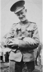 """Photo of Herbert Edward White– There are 3 pictures of Herb in uniform. The one has a young lady whom we do not know. The third has a picture with a young child. That is his sister Margery who was about 3 years old when he left for war. He called her """"baby"""" and said she was his favourite. She received the silver cross which was given to his mother when he died and has since passed it on to her daughter Carol who told us Herb's story and provided me with these pictures.   Margery died a few years ago in her 90's. She found getting old to be difficult as she could no longer do the things she used to do, but she also found it a privilege because some never got the chance (thinking of Herb).  I will send a picture of the silver cross, a small card, plate and duck which Herb sent home under separate cover."""