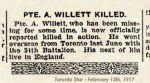Newspaper Clipping– Pte. Arthur Willett was born in Stretton, Cheshire, England.  Willett enlisted in Toronto in the 84th Battalion on July 29th, 1915.  In honoured memory.