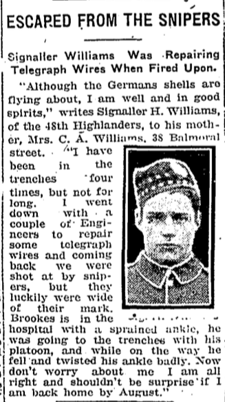Press Clipping– In memory of the members of the 15th, 92nd and 134th Battalions (48th Highlanders) who went to war and did not return. Remembered by the 48th Highlanders Museum 73 Simcoe St. Toronto, Submitted for the project, Operation: Picture Me.