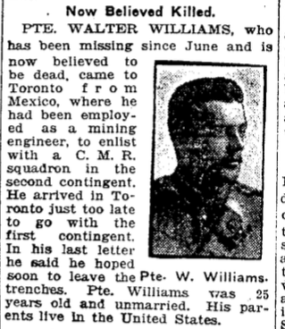 Photo of WALTER DALRYMPLE WILLIAMS– From the Toronto Star. Submitted for the project, Operation: Picture Me