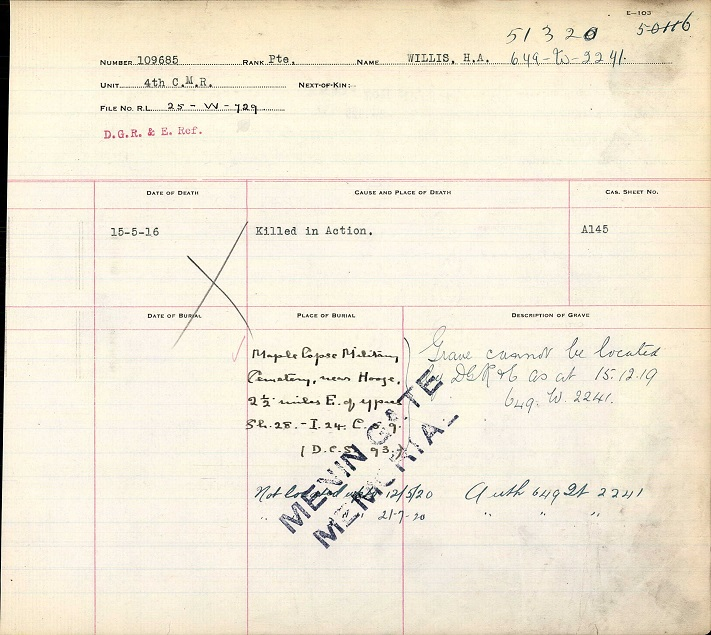 Circumstances of Death Registers– Private Harry Alfred Willis was killed in action in the trenches at Hooge in May 1916. His body was buried in the Maple Copse Cemetery near Hooge, approximately 2.5 miles east of Ypres. During the Battle of Mount Sorrel in June 1916, and is subsequent battles, the original Maple Copse Cemetery was almost entirely obliterated. The cemetery, on the north side of the copse (plantation) was enclosed after the armistice, however few of the original graves could be identified.