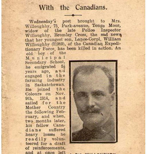 Newspaper clipping– Death notice published in his hometown.