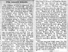 Newspaper clipping– Orillia Times, 29 Nov 1917