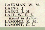 Name on the Roll of Honour– Detail of Second Lieutenant W. F. J. Lait's name on the Merchants Bank of Canada 1914 - 1918 Roll of Honour.