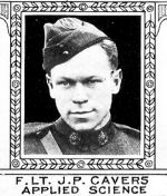 Photo of James Cavers– From: The Varsity Magazine Supplement Fourth Edition 1918 published by The Students Administrative Council, University of Toronto.   Submitted for the Soldiers' Tower Committee, University of Toronto, by Operation Picture Me.