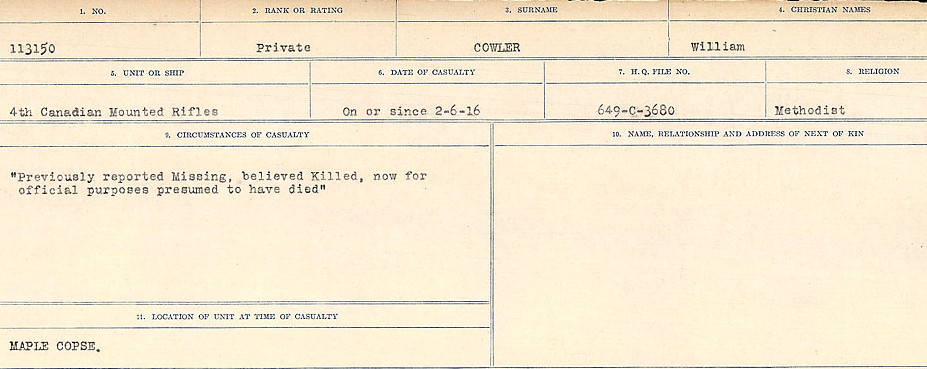 Circumstances of Death Registers– Source: Library and Archives Canada.  CIRCUMSTANCES OF DEATH REGISTERS, FIRST WORLD WAR Surnames:  CORBI to COZNI.  Microform Sequence 23; Volume Number 31829_B016732. Reference RG150, 1992-93/314, 167.  Page 727 of 900.