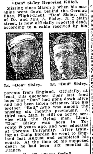 Newspaper Clipping (5)– Arthur Bud Sisley. From the Toronto Star. Submitted for the project, Operation: Picture Me