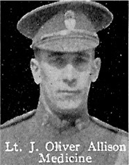 Photo of John Allison– From: The Varsity Magazine Supplement published by The Students Administrative Council, University of Toronto 1916.   Submitted for the Soldiers' Tower Committee, University of Toronto, by Operation Picture Me.
