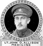 Photo of John Allison– From: The Varsity Magazine Supplement Fourth Edition 1918 published by The Students Administrative Council, University of Toronto.   Submitted for the Soldiers' Tower Committee, University of Toronto, by Operation Picture Me.