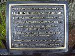 Memorial Plaque– Plaque in memory of Lt. John Oliver Allison MC. Located in the Eugenia Falls Conservation Area, Village of Eugenia, Ontario Canada.