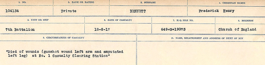 – Source: Library and Archives Canada.  CIRCUMSTANCES OF DEATH REGISTERS FIRST WORLD WAR Surnames:  Bell to Bernaquez.  Mircoform Sequence 8; Volume Number 31829_B016718; Reference RG150, 1992-93/314, 152 Page 443 of 670
