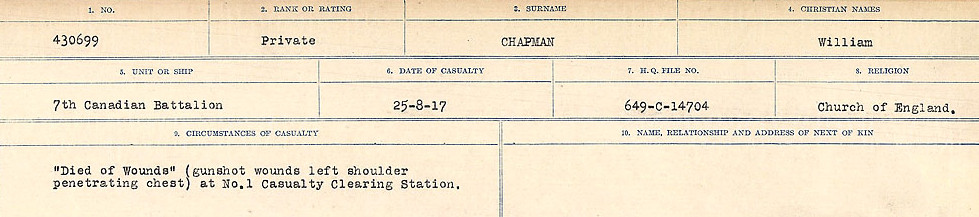 Circumstances of Death– Source: Library and Archives Canada.  CIRCUMSTANCES OF DEATH REGISTERS, FIRST WORLD WAR Surnames:  CATCHPOLE TO CHIGNELL. Microform Sequence 19; Volume Number 31829_B016728. Reference RG150, 1992-93/314, 165. Page 605 of 958.