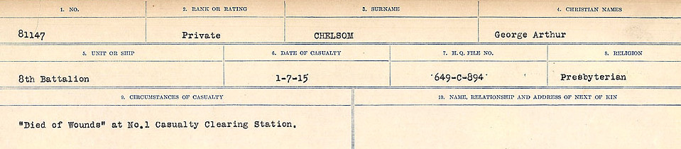 Circumstances of Death Registers– Source: Library and Archives Canada.  CIRCUMSTANCES OF DEATH REGISTERS, FIRST WORLD WAR Surnames:  Catchpole to Chignell. Microform Sequence 19; Volume Number 31829_B016728. Reference RG150, 1992-93/314, 165. Page 851 of 958.