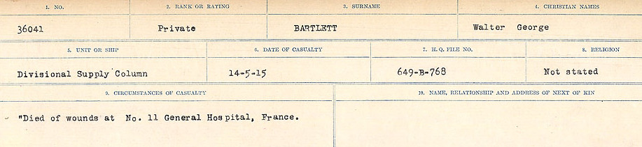 Circumstances of Death– Source: Library and Archives Canada.  CIRCUMSTANCES OF DEATH REGISTERS, FIRST WORLD WAR Surnames:  Bark to Bazinet. Mircoform Sequence 6; Volume Number 31829_B016716. Reference RG150, 1992-93/314, 150.  Page 617 of 1058.