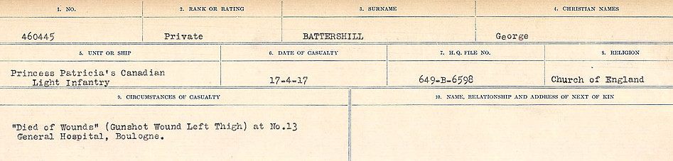 Circumstances of Death Registers– Source: Library and Archives Canada.  CIRCUMSTANCES OF DEATH REGISTERS, FIRST WORLD WAR Surnames:  Bark to Bazinet. Mircoform Sequence 6; Volume Number 31829_B016716. Reference RG150, 1992-93/314, 150.  Page 913 of 1058.