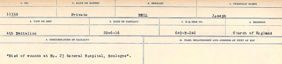 Circumstances of Death Registers– Source: Library and Archives Canada.  CIRCUMSTANCES OF DEATH REGISTERS FIRST WORLD WAR Surnames: Bernard to Binyan. Mircoform Sequence 8; Volume Number 31829_B016718; Reference RG150, 1992-93/314, 152 Page 135 of 670