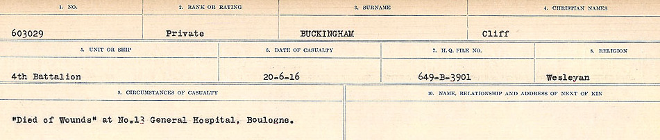 Circumstances of Death Registers– Source: Library and Archives Canada.  CIRCUMSTANCES OF DEATH REGISTERS FIRST WORLD WAR Surnames: Brubacher to Bunyan. Mircoform Sequence 15; Volume Number 31829_B016724; Reference RG150, 1992-93/314, 159 Page 365 of 668