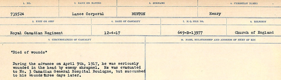 Circumstances of Death Registers– Source: Library and Archives Canada.  CIRCUMSTANCES OF DEATH REGISTERS FIRST WORLD WAR Surnames: Brubacher to Bunyan. Mircoform Sequence 15; Volume Number 31829_B016724; Reference RG150, 1992-93/314, 159 Page 661 of 668