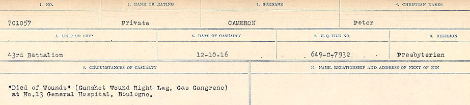 Circumstances of Death Registers– Source: Library and Archives Canada.  CIRCUMSTANCES OF DEATH REGISTERS, FIRST WORLD WAR Surnames:  Cabana to Campling. Microform Sequence 17; Volume Number 31829_B016726. Reference RG150, 1992-93/314, 161.  Page 489 of 1024.