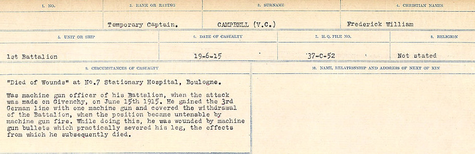 Circumstances of Death Registers– Source: Library and Archives Canada.  CIRCUMSTANCES OF DEATH REGISTERS, FIRST WORLD WAR Surnames:  Cabana to Campling. Microform Sequence 17; Volume Number 31829_B016726. Reference RG150, 1992-93/314, 161.  Page 685 of 1024
