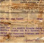 Télégramme – Télégramme original informant que Joseph James Cook est sérieusement malade à Boulogne, en France.