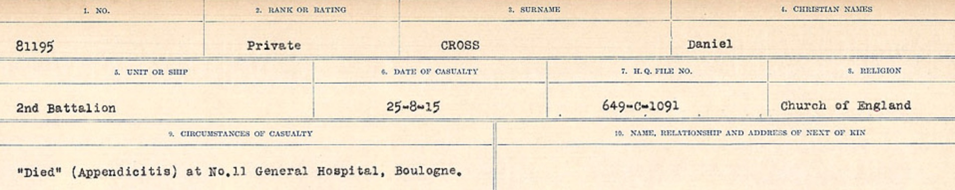 Circumstances of death registers– Source: Library and Archives Canada. CIRCUMSTANCES OF DEATH REGISTERS, FIRST WORLD WAR Surnames: CRABB TO CROSSLAND Microform Sequence 24; Volume Number 31829_B016733. Reference RG150, 1992-93/314, 168. Page 749 of 788.