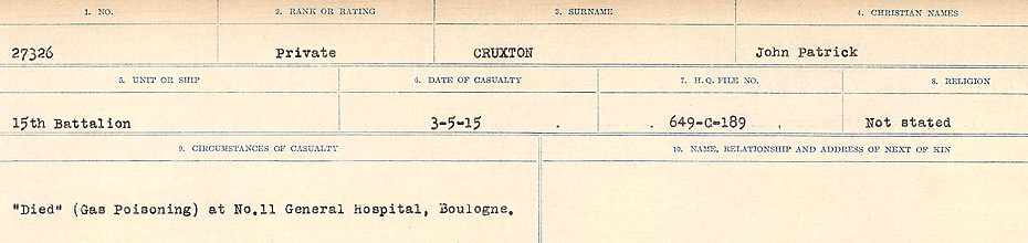 Circumstances of death registers– Source: Library and Archives Canada. CIRCUMSTANCES OF DEATH REGISTERS, FIRST WORLD WAR Surnames: Crossley to Cyrs. Microform Sequence 25; Volume Number 31829_B016734. Reference RG150, 1992-93/314, 169. Page 241 of 890.