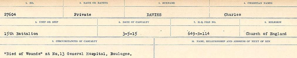 Circumstances of death registers– Source: Library and Archives Canada. CIRCUMSTANCES OF DEATH REGISTERS, FIRST WORLD WAR Surnames: Dack to Dabate. Microform Sequence 26; Volume Number 31829_B016735. Reference RG150, 1992-93/314, 170. Page 763 of 1140.