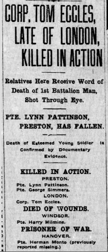 Newspaper clipping– From the London Free Press July 1915. Submitted for the project Operation Picture Me