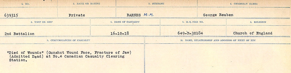 Circumstances of Death– Source: Library and Archives Canada.  CIRCUMSTANCES OF DEATH REGISTERS, FIRST WORLD WAR Surnames:  Bark to Bazinet. Mircoform Sequence 6; Volume Number 31829_B016716. Reference RG150, 1992-93/314, 150.  Page 201 of 1058.