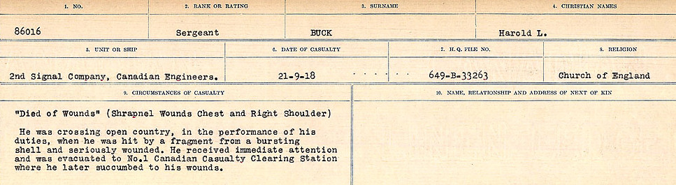 Circumstances of Death Registers– Source: Library and Archives Canada.  CIRCUMSTANCES OF DEATH REGISTERS FIRST WORLD WAR Surnames: Brubacher to Bunyan. Mircoform Sequence 15; Volume Number 31829_B016724; Reference RG150, 1992-93/314, 159 Page 337 of 668