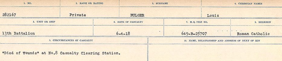 Circumstances of Death Registers– Source: Library and Archives Canada.  CIRCUMSTANCES OF DEATH REGISTERS FIRST WORLD WAR Surnames: Brubacher to Bunyan. Mircoform Sequence 15; Volume Number 31829_B016724; Reference RG150, 1992-93/314, 159 Page 501 of 668