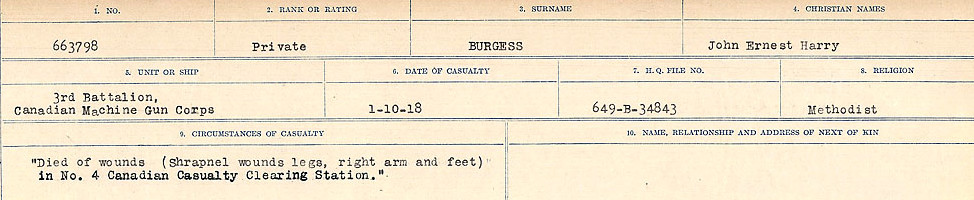 Circumstances of Death Registers– Source: Library and Archives Canada.  CIRCUMSTANCES OF DEATH REGISTERS, FIRST WORLD WAR Surnames:  Burbank to Bytheway. Microform Sequence 16; Volume Number 31829_B016725. Reference RG150, 1992-93/314, 160.  Page 129 of 926.