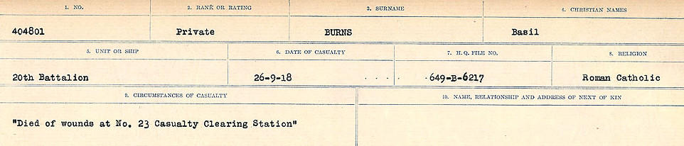 Circumstances of Death Registers– Source: Library and Archives Canada.  CIRCUMSTANCES OF DEATH REGISTERS, FIRST WORLD WAR Surnames:  Burbank to Bytheway. Microform Sequence 16; Volume Number 31829_B016725. Reference RG150, 1992-93/314, 160.  Page 329 of 926.