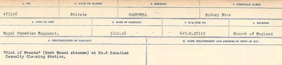 Circumstances of Death Registers– Source: Library and Archives Canada.  CIRCUMSTANCES OF DEATH REGISTERS, FIRST WORLD WAR Surnames:  Cabana to Campling. Microform Sequence 17; Volume Number 31829_B016726. Reference RG150, 1992-93/314, 161.  Page 947 of 1024