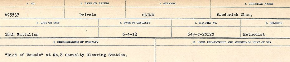 Circumstances of Death Registers– Source: Library and Archives Canada.  CIRCUMSTANCES OF DEATH REGISTERS, FIRST WORLD WAR Surnames:  CLEAL TO CONNOLLY.  Microform Sequence 21; Volume Number 31829_B016730. Reference RG150, 1992-93/314, 165.  Page 225 of 1384.