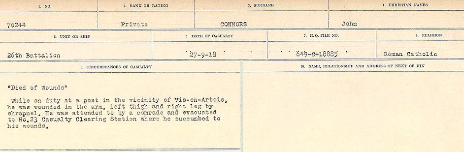 Circumstances of Death Registers– Source: Library and Archives Canada.  CIRCUMSTANCES OF DEATH REGISTERS, FIRST WORLD WAR Surnames:  CONNON TO CORBETT.  Microform Sequence 22; Volume Number 31829_B016731. Reference RG150, 1992-93/314, 166.  Page 33 of 818.