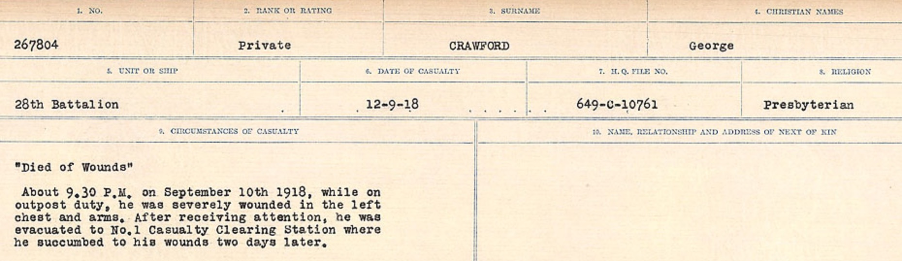 Circumstances of death registers– Source: Library and Archives Canada. CIRCUMSTANCES OF DEATH REGISTERS, FIRST WORLD WAR Surnames: CRABB TO CROSSLAND Microform Sequence 24; Volume Number 31829_B016733. Reference RG150, 1992-93/314, 168. Page 335 of 788.