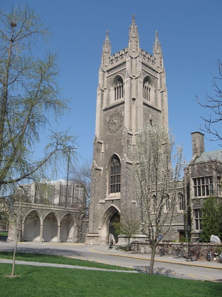 """The Soldiers' Tower– The Soldiers' Tower was built at University of Toronto between 1919-1924 in memory of those lost to the University in the Great War. The name of """"Lt. R. M. M. Gray M.C. 46th Bn"""" is among the 628 names carved on the Memorial Screen, which can be seen at photo left. Photo: K. Parks, Alumni Relations."""