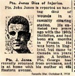 Newspaper Clipping– Private John Jones enlisted with the 180th Battalion in Toronto.