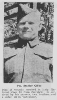 Photo of STANLEY ALEXANDER GIBBS– From the Loyal Edmonton Regimental magazine the Fortyniner.  Submitted for the project, Operation Picture Me