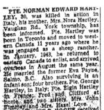 Newspaper Clipping– Obituary from the Toronto Star February 1, 1945, page 8