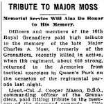 Tribute– Description of Memorial Tribute to Major Charles Alexander Moss by the Royal Grenadiers in Toronto.